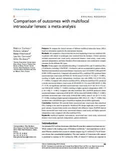 Comparison of outcomes with multifocal intraocular lenses: a meta