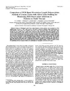 Comparison of PCR-Based Restriction Length Polymorphism ...