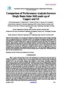 Comparison of Performance Analysis between Single Basin Solar Still ...