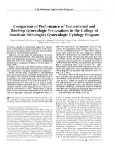 Comparison of Performance of Conventional and ThinPrep ...