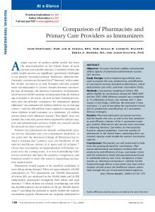 Comparison of Pharmacists and Primary Care