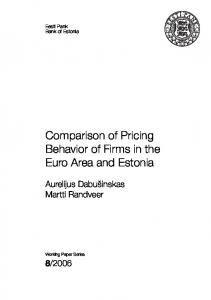 Comparison of Pricing Behavior of Firms in the Euro Area ... - Eesti Pank