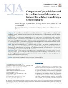 Comparison of propofol alone and in combination with ketamine or ...