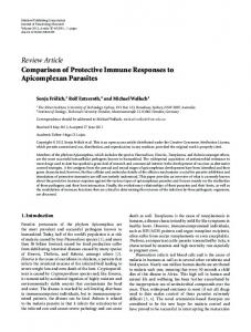 Comparison of Protective Immune Responses to Apicomplexan ...
