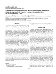 Comparison of Random Regression Models with Legendre ...