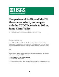 Comparison of ReMi, and MASW Shear-wave velocity techniques with ...