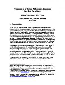 Comparison of School Aid Reform Proposals for New York State