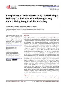 Comparison of Stereotactic Body Radiotherapy Delivery Techniques ...