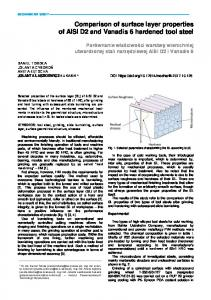 Comparison of surface layer properties of AISI D2 and ...