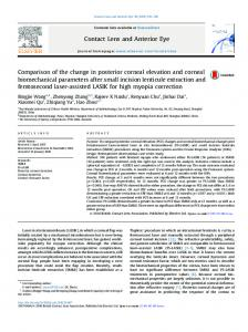 Comparison of the change in posterior corneal elevation and corneal ...