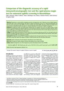 Comparison of the diagnostic accuracy of a rapid - World Health ...