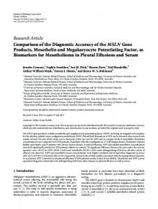 Comparison of the Diagnostic Accuracy of the MSLN Gene Products ...
