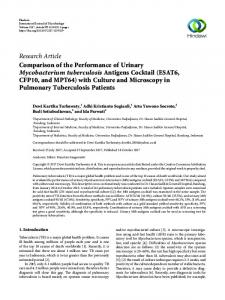 Comparison of the Performance of Urinary Mycobacterium ...