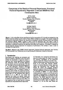 Comparison of the Results of Factorial Experiments, Fractional ...
