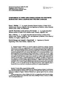 comparison of three lipid formulations for synthetic surfactant with a ...