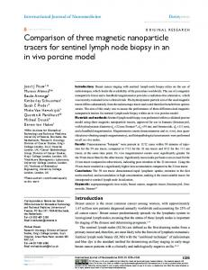 comparison of three magnetic nanoparticle tracers for sentinel lymph ...