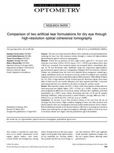 Comparison of two artificial tear formulations for dry eye through high ...