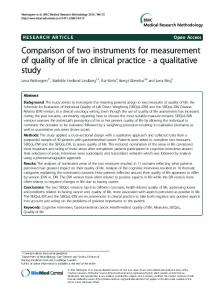 Comparison of two instruments for measurement of quality of ... - DiVA