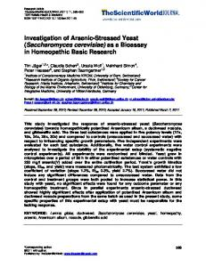 Comparison of yeast Saccharomyces cerevisiae and ...