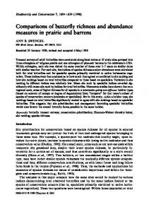 Comparisons of butterfly richness and abundance measures in prairie ...