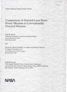 Comparisons of Selected Laser Beam Power Missions to ...