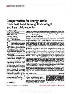 Compensation for Energy Intake From Fast Food ... - Semantic Scholar