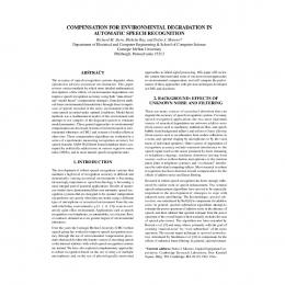 compensation for environmental degradation in automatic speech ...