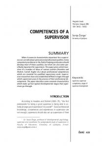 COMPETENCES OF A SUPERVISOR