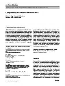 Competencies for Disaster Mental Health