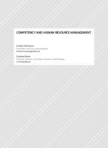 COMPETENCY AND HUMAN RESOURCE MANAGEMENT