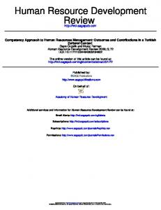 Competency Approach to Human Resources Management: Outcomes ...