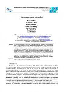 Competency based Job Analysis - Human Resource Management ...