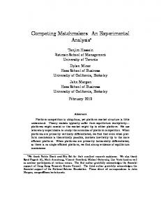 Competing Matchmakers: An Experimental Analysis!