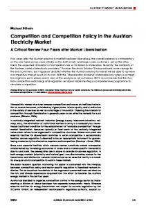 Competition and Competition Policy in the Austrian Electricity Market