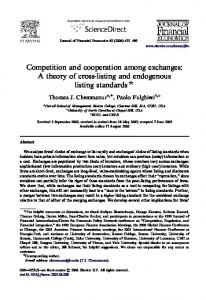 Competition and cooperation among exchanges: A ... - UNC-Chapel Hill