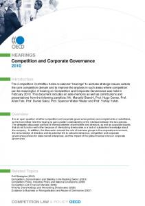 Competition and Corporate Governance - OECD.org