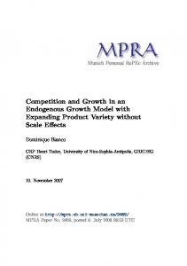 Competition and Growth in an Endogenous Growth Model with