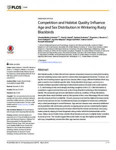 Competition and Habitat Quality Influence Age and