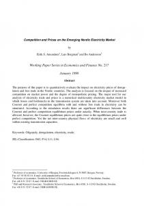 Competition and Prices on the Emerging Nordic Electricity Market