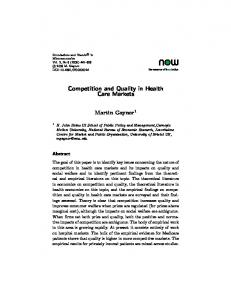 Competition and Quality in Health Care Markets