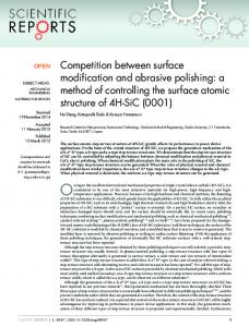 Competition between surface modification and ... - Semantic Scholar