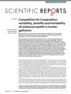 Competition for Cooperation: variability, benefits and ... - Nature