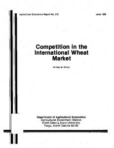 Competition in the International Wheat Market - AgEcon Search