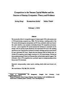 Competition in the Venture Capital Market and the ... - Editorial Express