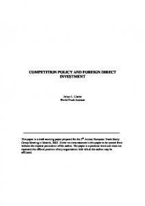 competition policy and foreign direct investment - European Trade ...