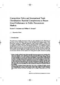 Competition Policy and International Trade Liberalisation: Essential ...