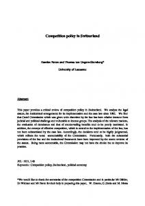 Competition policy in Switzerland - Core