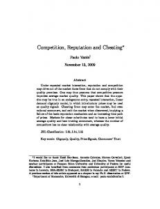 Competition, Reputation and Cheating
