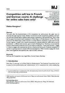 Competition soft law in French and German courts: A ... - SAGE Journals