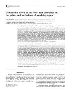 Competitive effects of the forest tent caterpillar on ... - Semantic Scholar